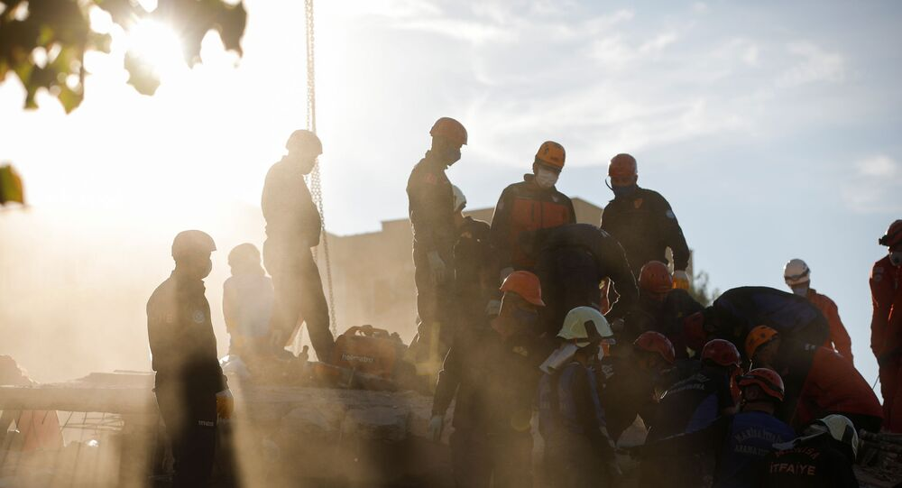 Rescue operations take place on a site after an earthquake struck the Aegean Sea, in the coastal province of Izmir, Turkey, November 1, 2020.