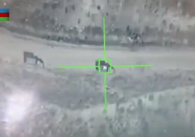 Screengrab from the Azerbaijan video allegedly showing the destruction of Armenian 'Grad' rocket launchers in Karabakh