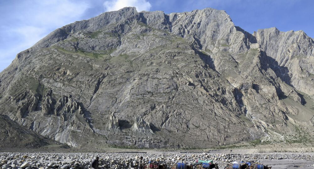 In this picture taken on August 20, 2019 porters and their mules make their way down from Baltoro glacier in the Karakoram range of Pakistan's mountain northern Gilgit region. - Northern Pakistan is home to some of the tallest mountains in the world, including K2, the world's second highest peak. Mountaineers have long been drawn to the area by the challenging climbs.