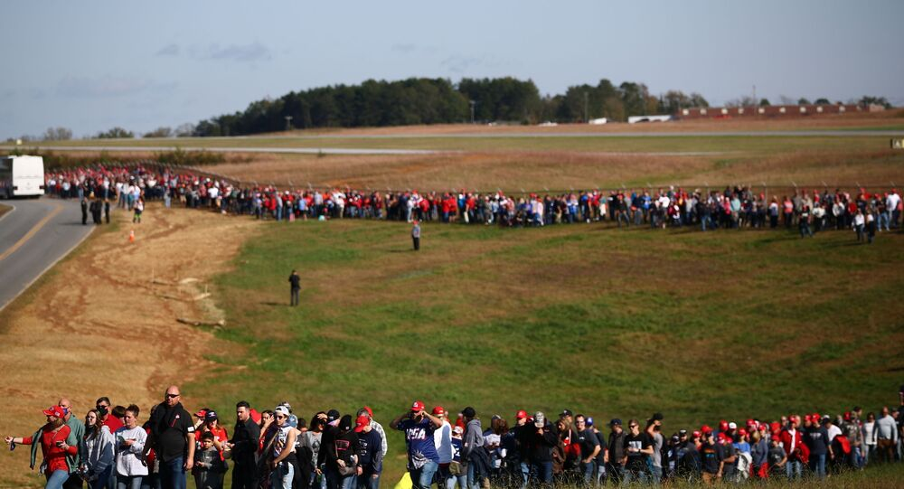 Supporters wait for the rally of U.S. President Donald Trump at Hickory Regional Airport in Hickory, North Carolina U.S., November 1, 2020.