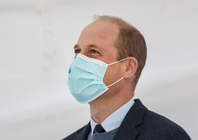 Britain's Prince William attends a groundbreaking ceremony at The Royal Marsden in Surrey, Britain October 21, 2020.