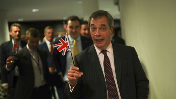British European Parliament member Nigel Farage leaves the hemicycle after addressing European lawmakers during the plenary session at the European Parliament in Brussels, Wednesday, Jan. 29, 2020 - Sputnik International