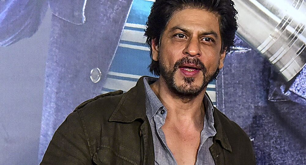 In this picture taken on March 3, 2020, Bollywood actor Shah Rukh Khan gestures as he attends the premiere of the Hindi drama film 'Kaamyaab' in Mumbai