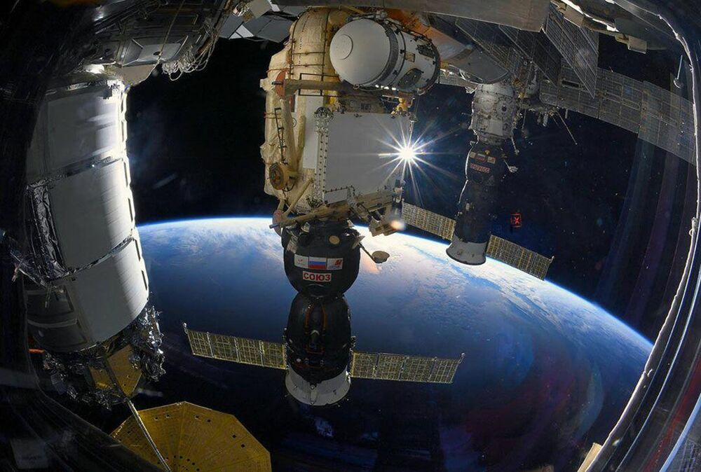 Soyuz MS spaceship docked at the ISS.