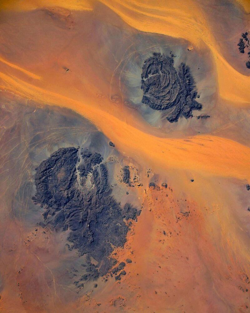 The Sahara Desert as seen from the ISS. The picture was taken by Russian cosmonaut Ivan Vagner.