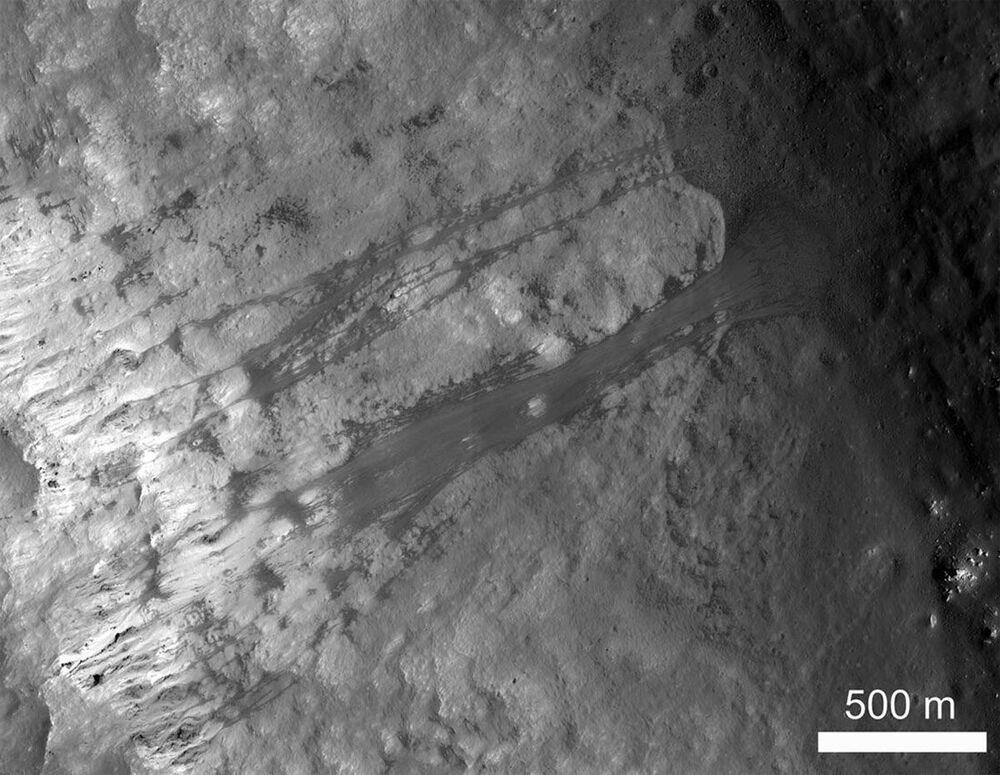 A landslide inside Kepler, a lunar crater.