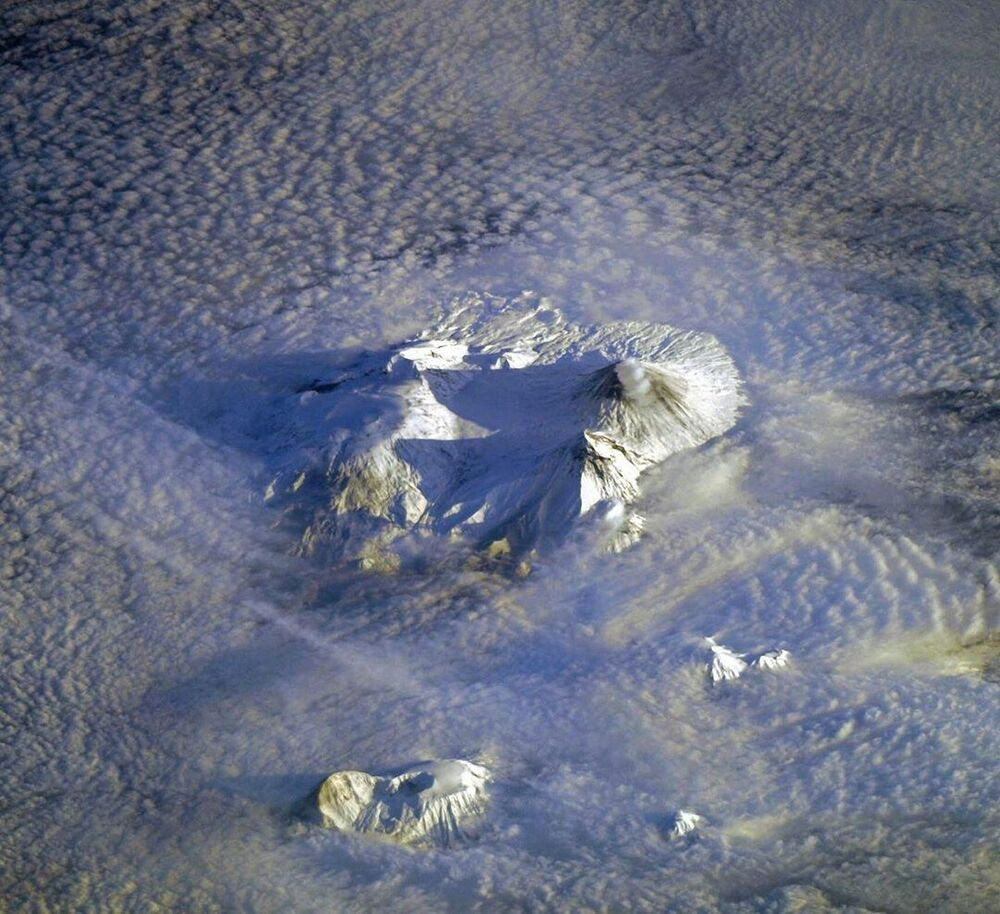 Kamchatka's volcanoes as seen from the ISS.