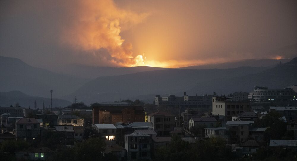 Powerful explosions are seen only a few km south-east from Stepanakert, the self-proclaimed Nagorno-Karabakh Republic