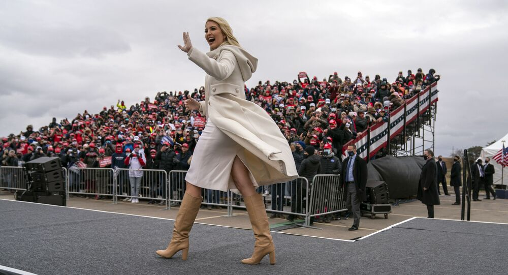 Ivanka Trump walks onstage to introduce her father, President Donald Trump at a campaign rally at Michigan Sports Stars Park, Sunday, Nov. 1, 2020, in Washington, Mich.