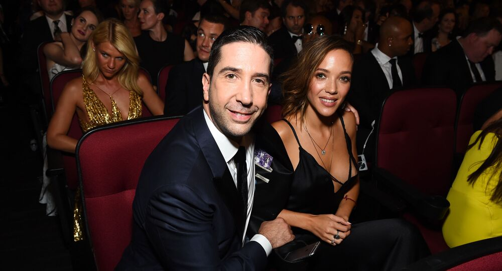EXCLUSIVE - David Schwimmer, left, and Zoe Buckman appear in the audience at the 68th Primetime Emmy Awards on Sunday, Sept. 18, 2016, at the Microsoft Theater in Los Angeles