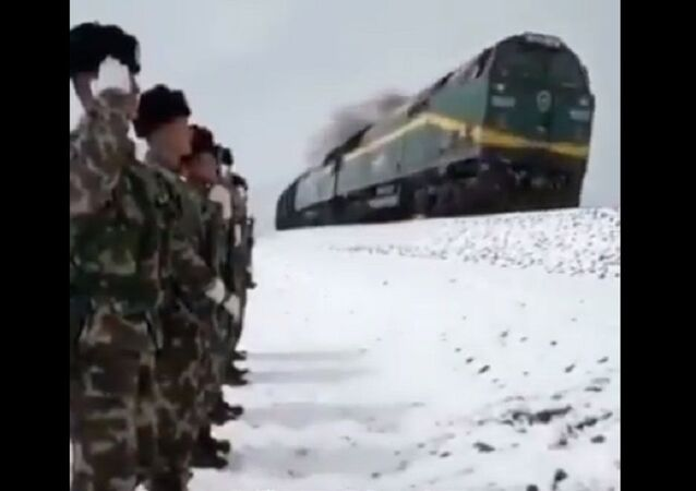 A special kind of respect: A group of soldiers patrolling the 138-kilometer Qinghai-Tibet Railway saluted a passing train with the train honking back