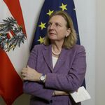 Austrian Foreign Minister Karin Kneissl addresses the media after talks with Czech Foreign Minister Tomas Petricek at the foreign ministry in Vienna, Austria, Thursday, Jan. 17, 2019