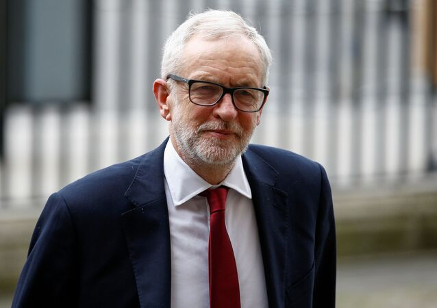Britain's Labour Party leader Jeremy Corbyn arrives for the annual Commonwealth Service at Westminster Abbey in London, Britain, 9 March 2020.