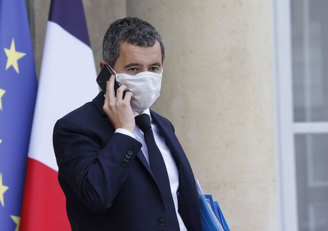 French Interior Minister Gerald Darmanin leaves the Elysee presidential Palace in Paris after attending the weekly cabinet meeting in Paris, on October 21, 2020.