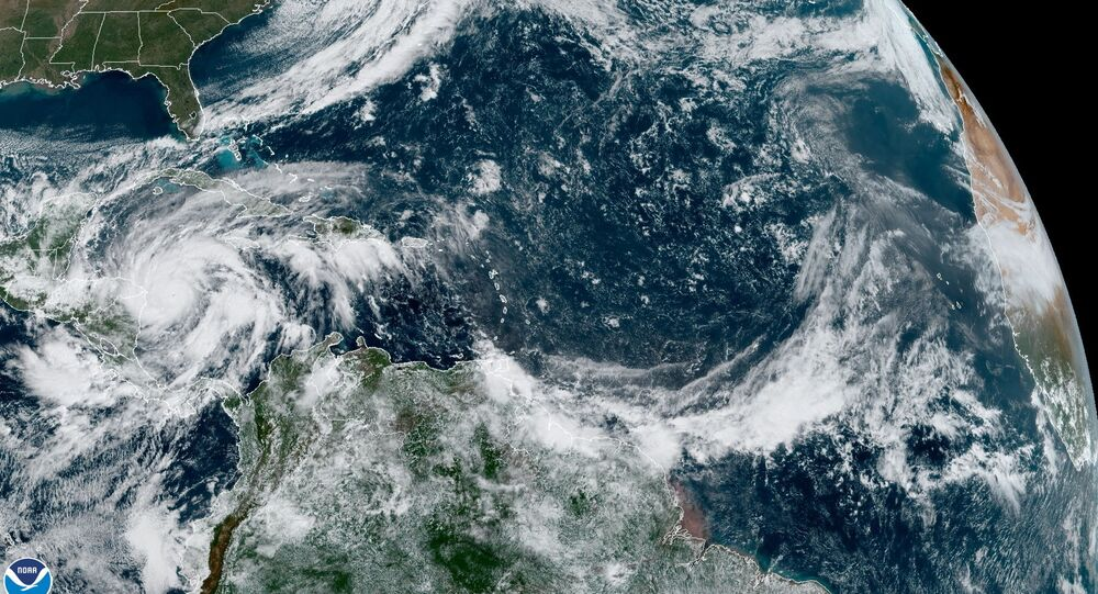 Hurricane Eta is seen churning in the Caribbean Sea toward Nicaragua in this satellite image taken November 2, 2020 over the Gulf of Mexico.