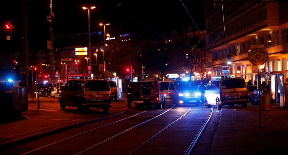 Police blocks a street near Schwedenplatz square after a shooting in Vienna, Austria November 2, 2020.