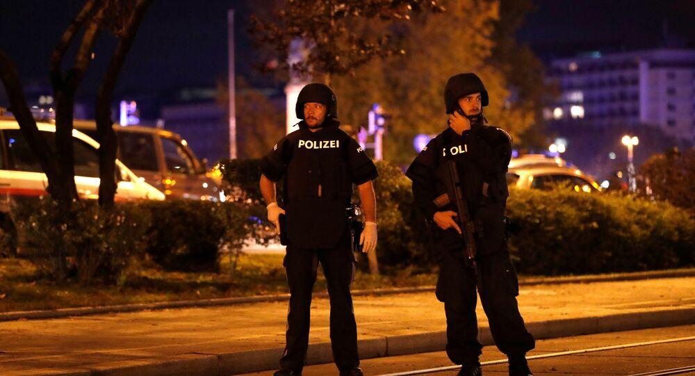 Police blocks a street near Schwedenplatz square after exchanges of gunfire in Vienna, Austria November 2, 2020.