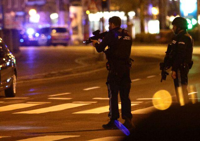 Police block a street near Schwedenplatz after exchanges of gunfire in Vienna, Austria, 2 November 2020.