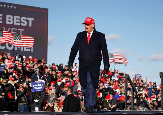 U.S. President Donald Trump holds a campaign rally at Wilkes-Barre Scranton International Airport in Avoca, Pennsylvania, U.S., November 2, 2020.