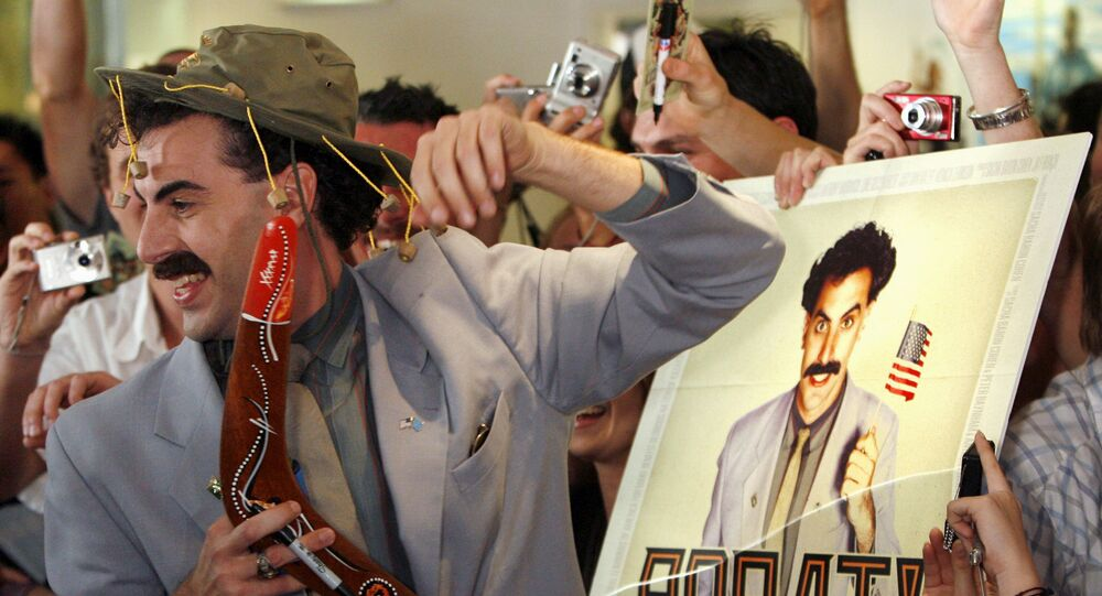 British actor Sacha Baron Cohen, in character as a Kazakh TV reporter known as 'Borat', holds a boomerang as he mingles with fans in Sydney November 13, 2006 during the Australian premiere of his film Borat: Cultural Learnings of America for Make Benefit Glorious Nation of Kazakhstan.