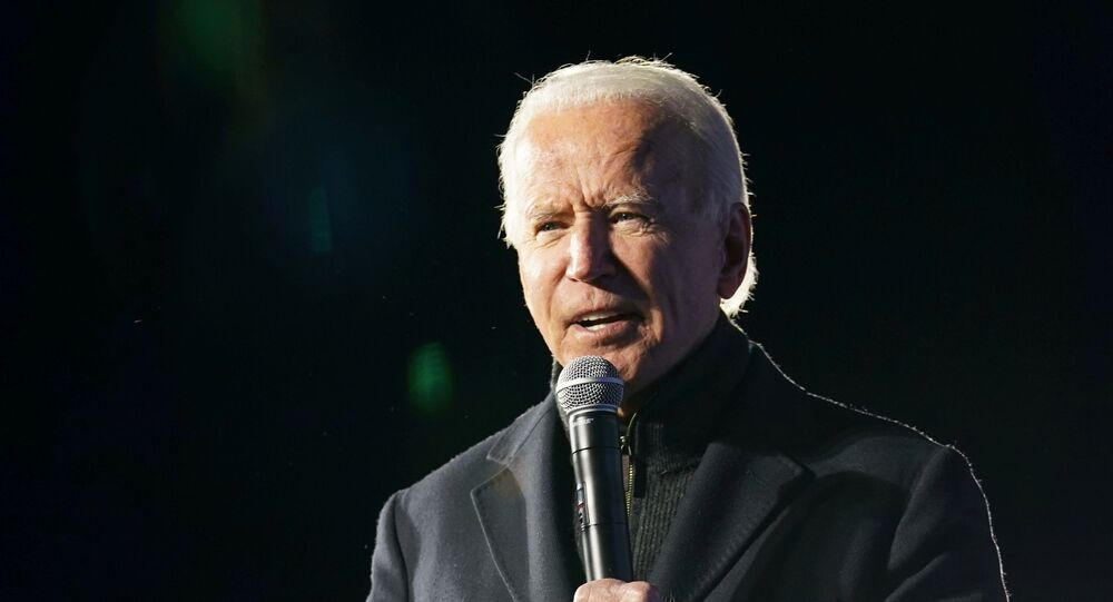 Democratic U.S. presidential nominee and former Vice President Joe Biden speaks during a drive-in campaign rally at Lexington Technology Park in Pittsburgh, Pennsylvania, U.S., November 2, 2020