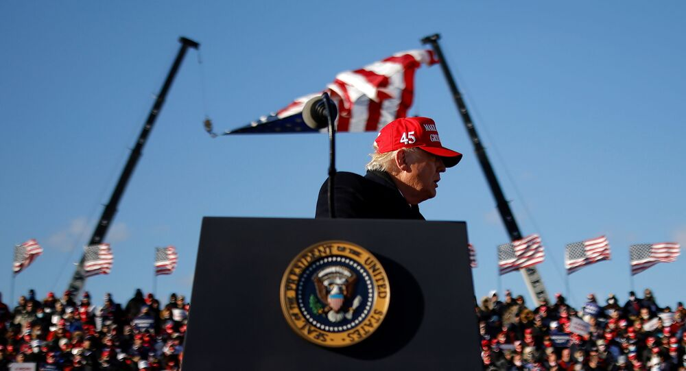US President Donald Trump holds a campaign rally at Wilkes-Barre Scranton International Airport in Avoca, Pennsylvania, 2 November 2020.