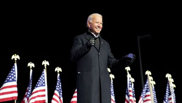 Democratic US presidential nominee and former Vice President Joe Biden smile during a drive-in campaign rally at Heinz Field in Pittsburgh, Pennsylvania, 2 November 2020 - Sputnik International