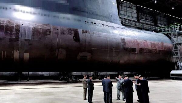 North Korean state media KCNA released footage showing the communist leader inspecting a new submarine under construction at a shipyard - Sputnik International