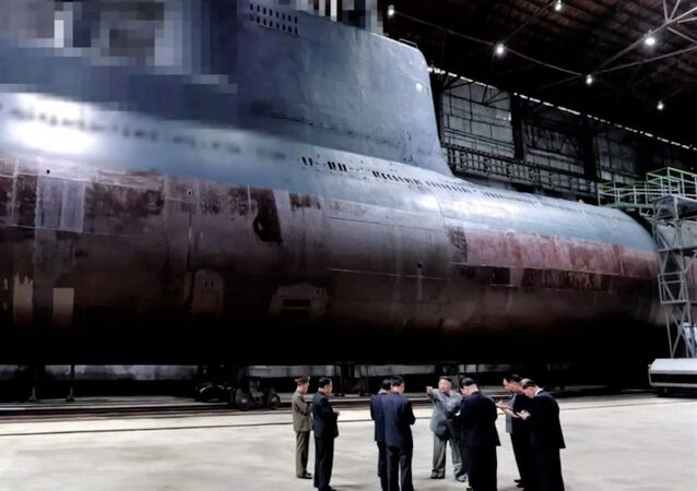 North Korean state media KCNA released footage showing the communist leader inspecting a new submarine under construction at a shipyard