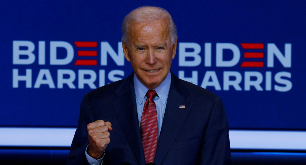 US presidential nominee for the Democrats and former Vice-President Joe Biden makes a statement in Wilmington, Delaware, US, 28 October 2020.