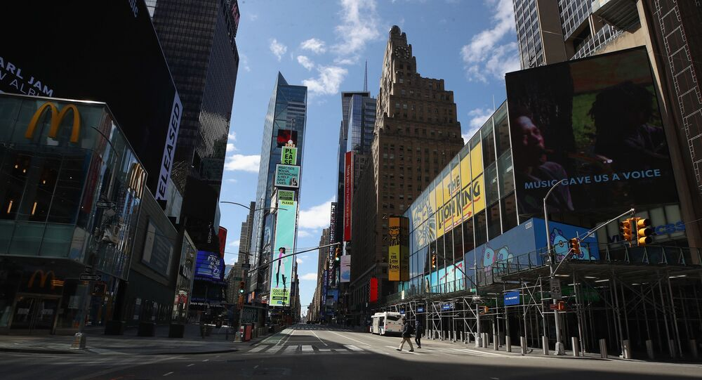 A general view of an empty Seventh Avenue at Times Square in the early afternoon on 2 April 2020 in New York City.