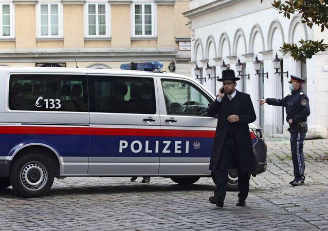 Rabbi Schlomo Hofmeister walks near the synagogue after exchanges of gunfire in Vienna, Austria November 3, 2020