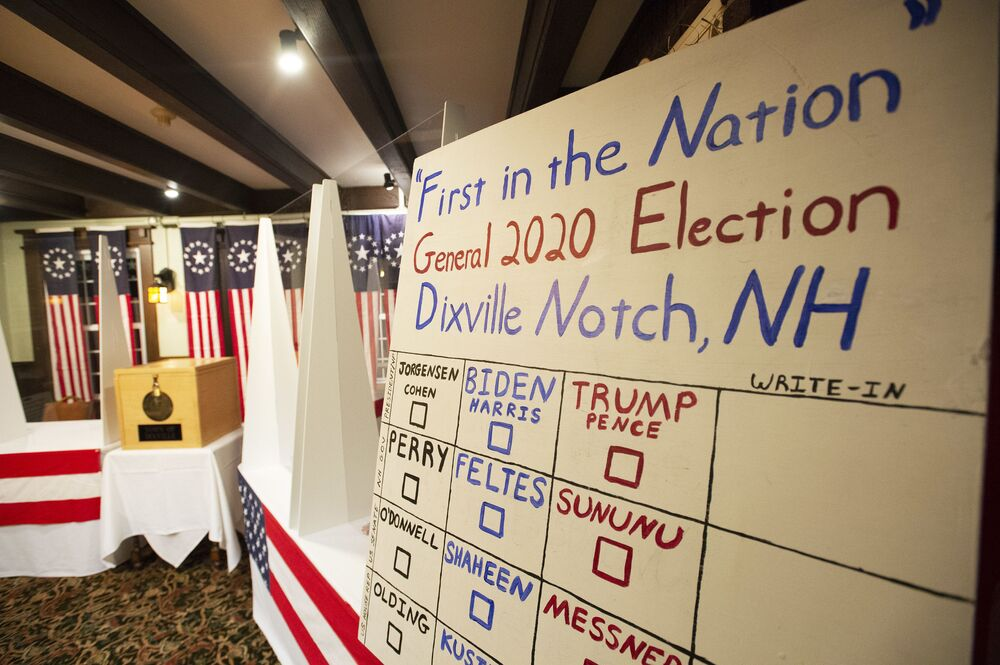 A board with the names of the candidates is seen in the room where voters will cast their ballots at Hale House, on the historic Balsams Resort during midnight voting as part of the first ballots cast in the United States Presidential Election in Dixville Notch, New Hampshire on 3 November 2020.