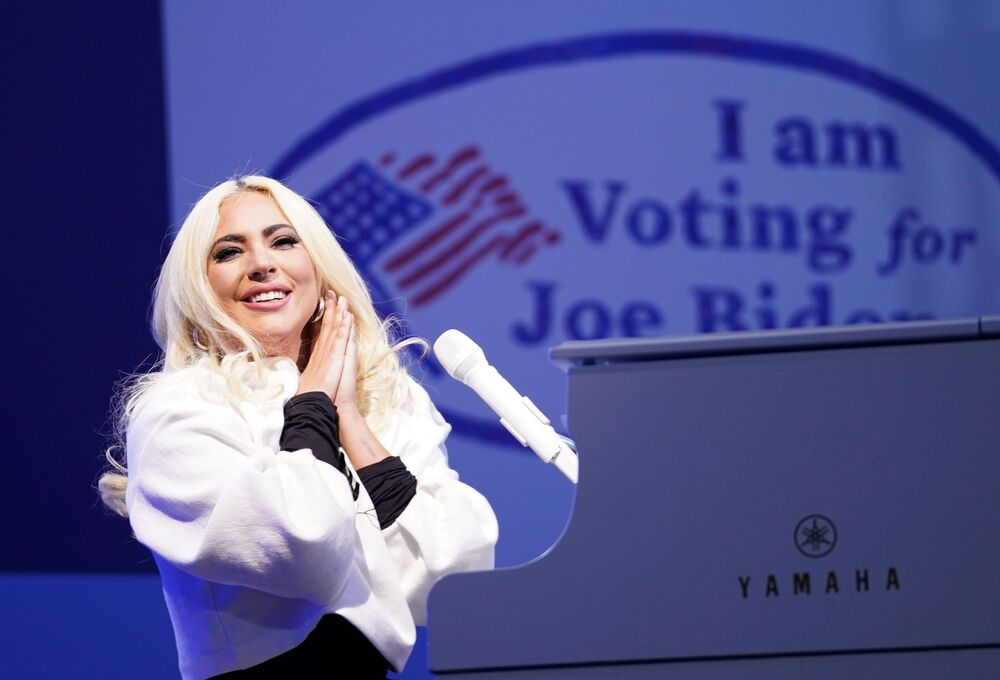 Lady Gaga performs during a drive-in campaign rally held by Democrat US presidential nominee and former Vice-President Joe Biden at Heinz Field in Pittsburgh, Pennsylvania, US, 2 November 2020.