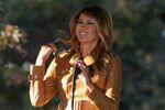 First lady Melania Trump arrives to speak at a campaign rally at Magnolia Woods on Monday, Nov. 2, 2020, in Huntersville, N.C.
