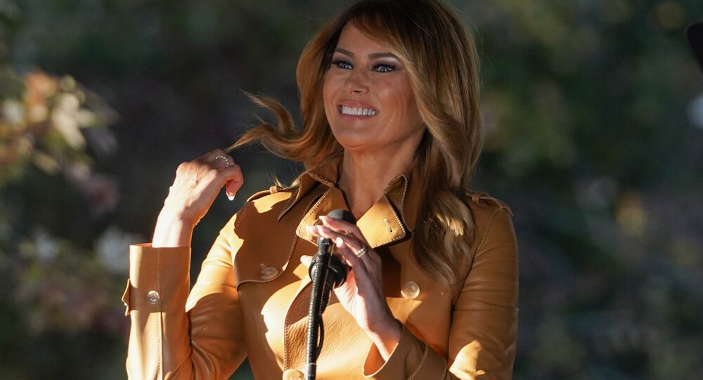 First lady Melania Trump arrives to speak at a campaign rally at Magnolia Woods on Monday, 2 November 2020, in Huntersville, NC.