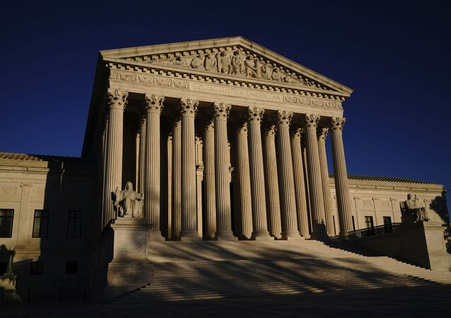 In this 2 November 2020 file photo, the Supreme Court is seen at sundown on the eve of Election Day in Washington