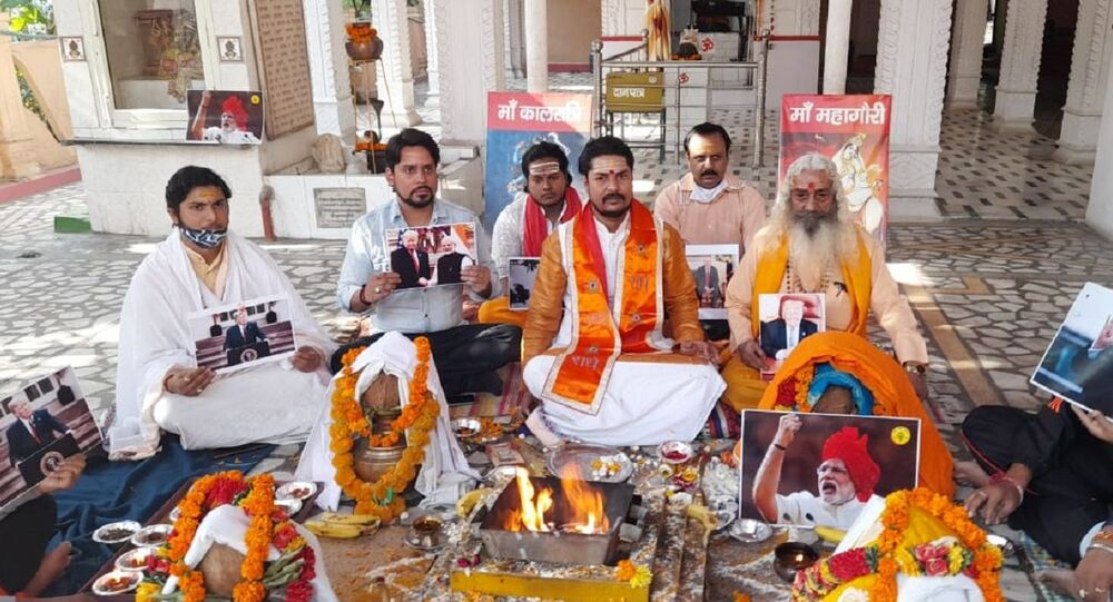 Fringe Indian outfit Hindu Sena organised a yagna praying for the re-election of incumbent US President Donald Trump in the presidential vote