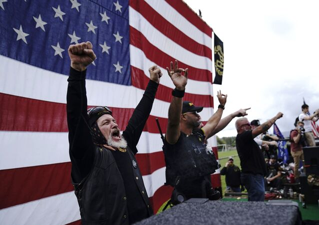 Members of the Proud Boys, including leader Enrique Tarrio, second from left, at a rally in Portland, Oregon in September 2020.