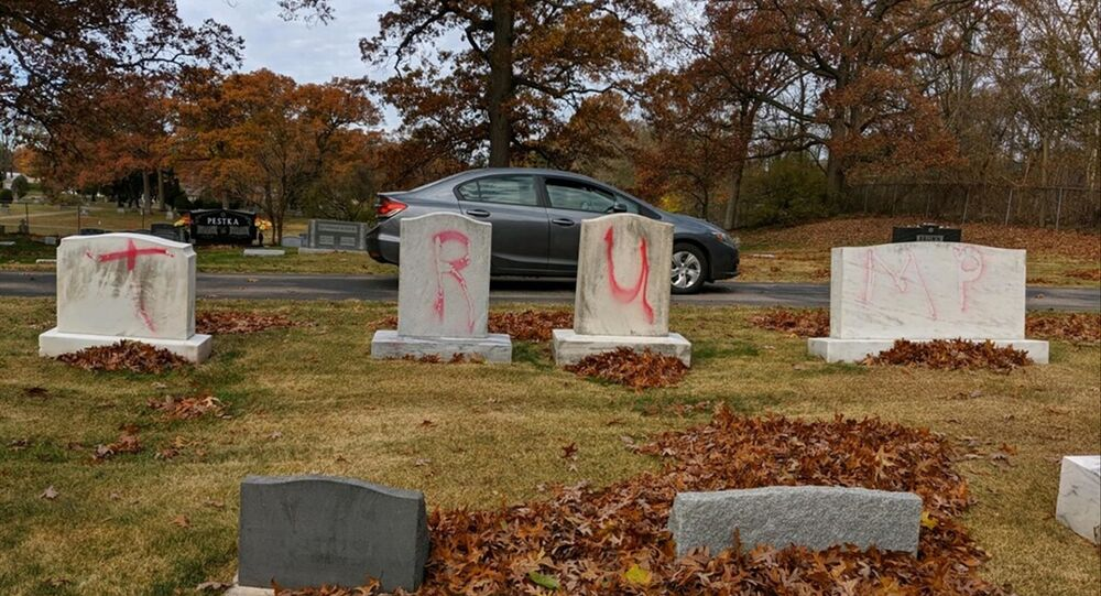 Graves are tagged with graffiti reading TRUMP at a Jewish cemetery in Grand Rapids. The graffiti was discovered on 2 November 2020