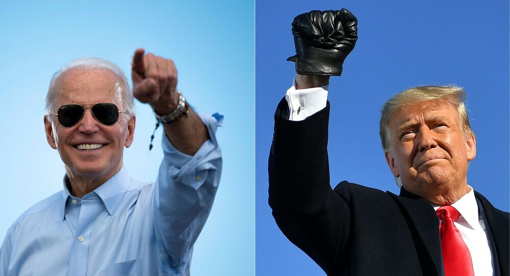 This combination of pictures created on October 30, 2020 shows Democratic Presidential candidate and former US Vice President Joe Biden gestures prior to delivering remarks at a Drive-in event in Coconut Creek, Florida, on October 29, 2020 and US President Donald Trump pumps his fist as he arrives to a campaign rally at Green Bay Austin Straubel International Airport in Green Bay, Wisconsin on October 30, 2020. - President Donald Trump and Democrat Joe Biden fought November 2, 2020 through the eve of an election threatened by legal chaos and fears of violence after Trump, down in the polls and with only hours to go, pushed hard to discredit the US voting process.On Tuesday, the world will witness a country more divided and angry than at any time since the Vietnam War era of the 1970s.