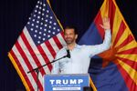 Donald Trump Jr gestures during a campaign rally for U.S. President Donald Trump ahead of Election Day, in Scottsdale