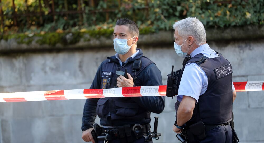 Police officers are seen near the French consulate in Zurich, Switzerland October 30, 2020.