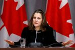 Canada's Deputy Prime Minister Chrystia Freeland attends a news conference on the coronavirus disease (COVID-19) outbreak on Parliament Hill in Ottawa, Ontario, Canada March 19, 2020.