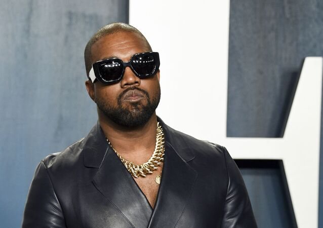 Kanye West arrives at the Vanity Fair Oscar Party in Beverly Hills, Calif., on 9 February 2020