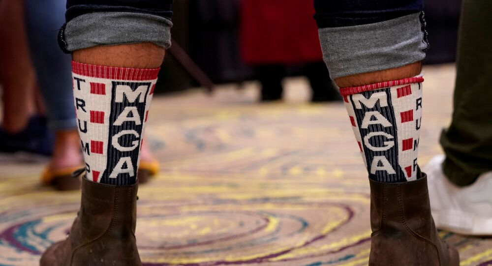A supporter of U.S. President Donald Trump wears MAGA socks at the Oklahoma GOP watch party for the 2020 U.S. presidential election in Edmond