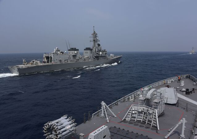This handout photo taken and released by the Indian Navy on November 3, 2020 shows ships taking part in the Malabar exercise in the Bay of Bengal. - India, Australia, Japan and the United States started a strategic navy drill on November 3 in the Bay of Bengal, with all four countries keeping a wary eye on China's growing military power.