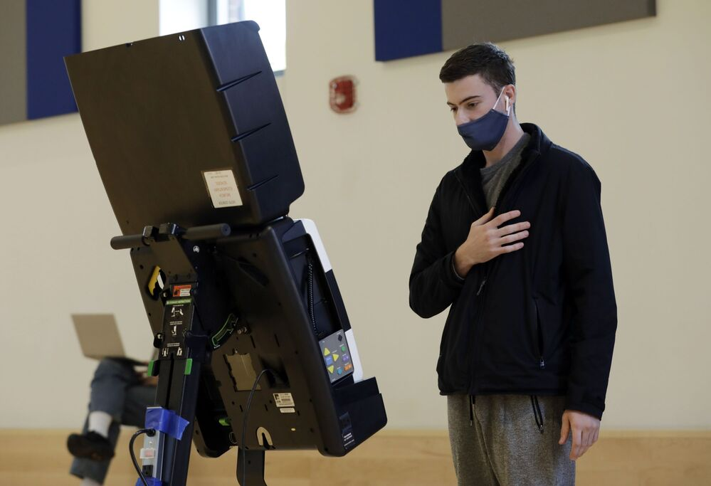 A young voter visits a polling station in Washington.