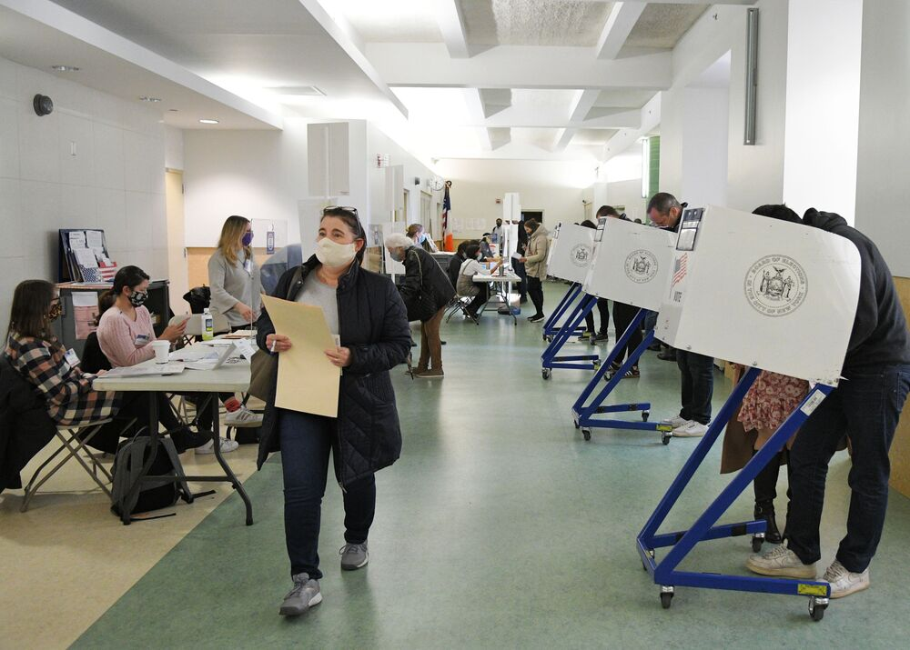 Voters cast their ballots in the US presidential election on 3 November 2020.