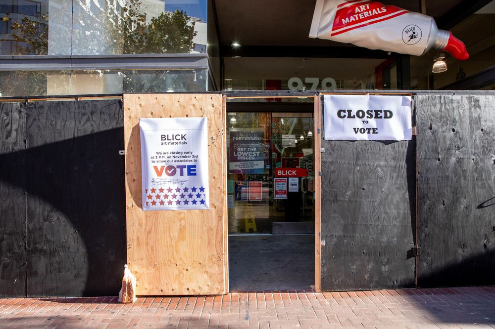 A polling station in San Francisco on Election Day, 3 November 2020.